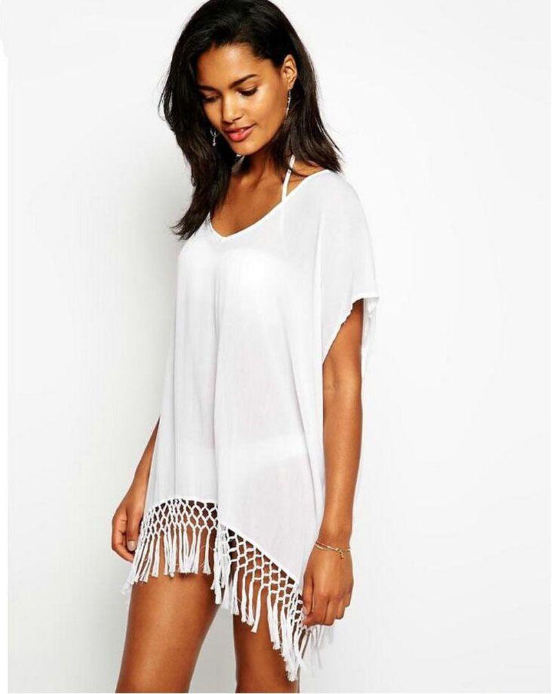 Été Sexy robe de plage avec glands paréo Beachwear tunique blanc en mousseline de soie Sarong maillot de bain robe de plage maillots de bain tunique
