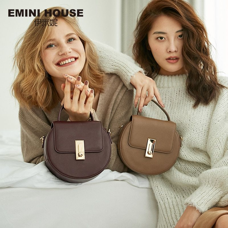 EMINI HOUSE Flap Split Leather Top-Handle Bags Chain Strap Women Shoulder Bag Round Shape Solid Color Crossbody Bags For Women