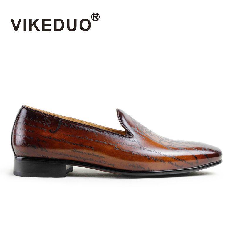 Vikeduo hecho a mano diseñador hombres del holgazán Zapatos Cuero auténtico moda de lujo vestido de fiesta ocio marca casual male Zapatos