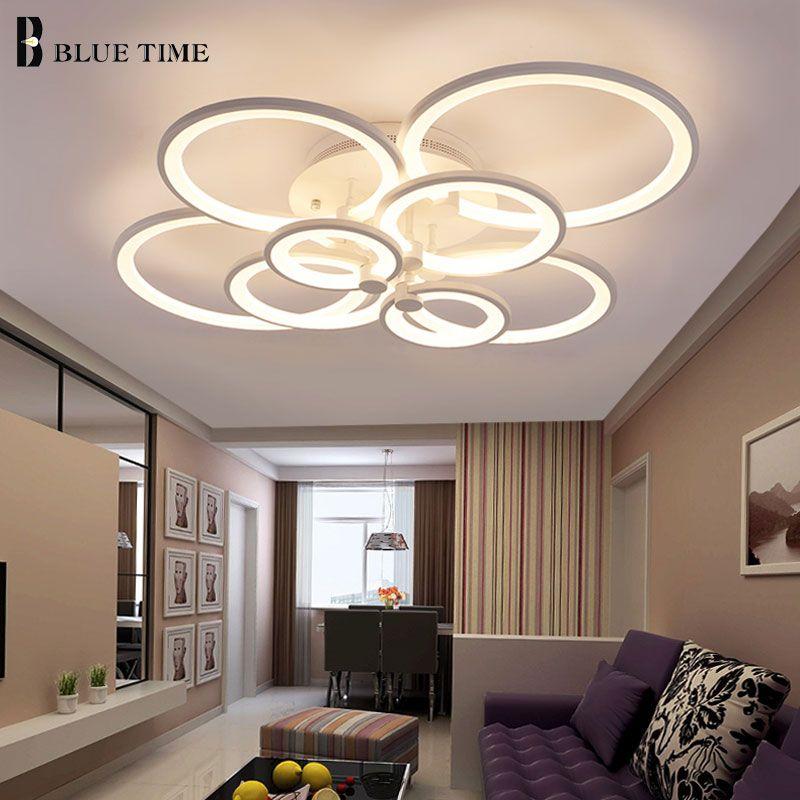 Blanc et Noir Moderne led Lustre Pour Salon Chambre salle À Manger Luminaires Acrylique Anneaux led lustre de plafond Éclairages