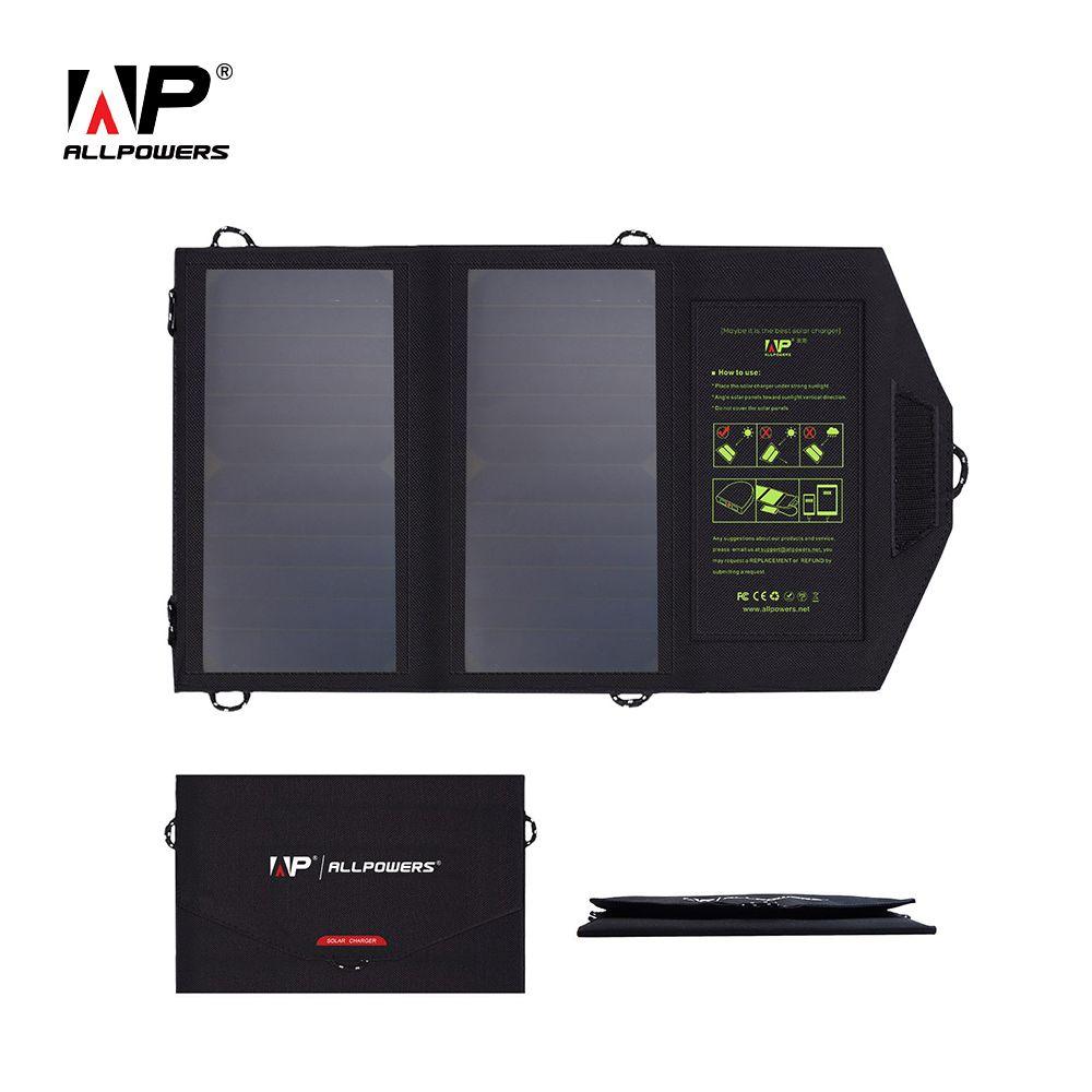 Chargeur de téléphone portable ALLPOWERS 14 W double chargeur de panneau solaire USB 5 V 2.4A pour Smartphones