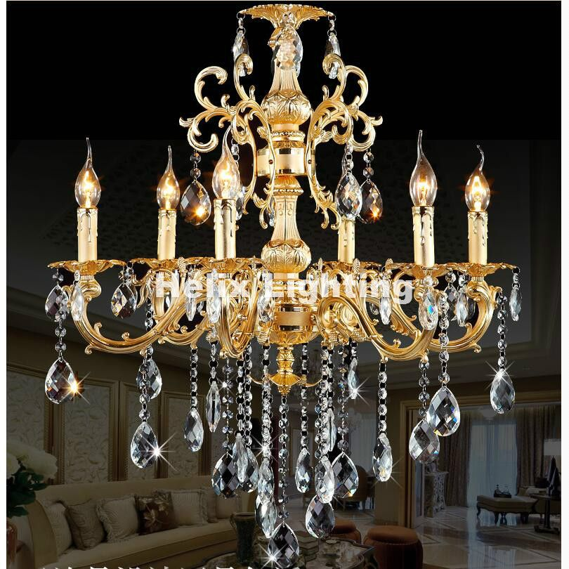 Modern European-style Classic Crystal Chandelier Light Golden Alloy Crystal Lighting With 6 Arms D700mm LED AC 100% Guaranteed