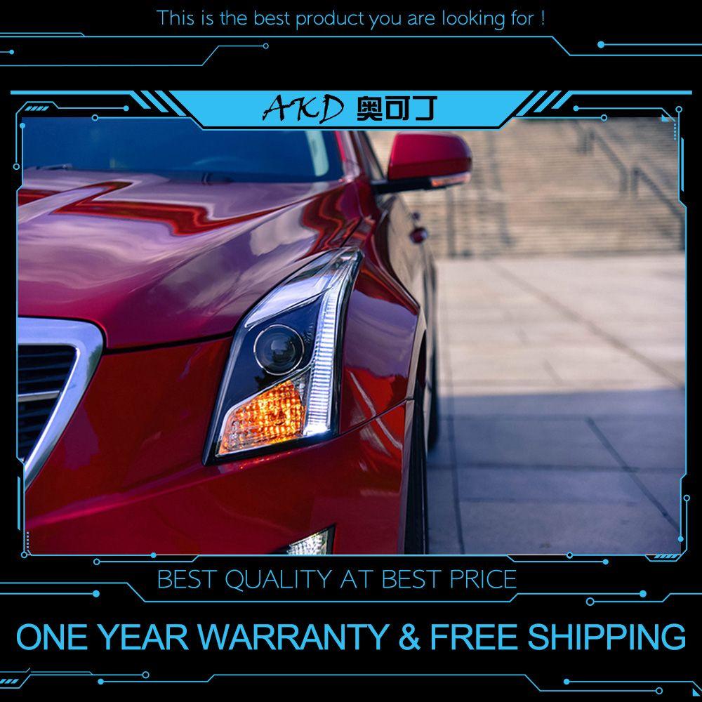 AKD tuning autos Scheinwerfer Für Cadillac ATS-L ATS L Scheinwerfer LED DRL Lauf lichter Bi-Xenon Strahl Nebel lichter engel augen Auto