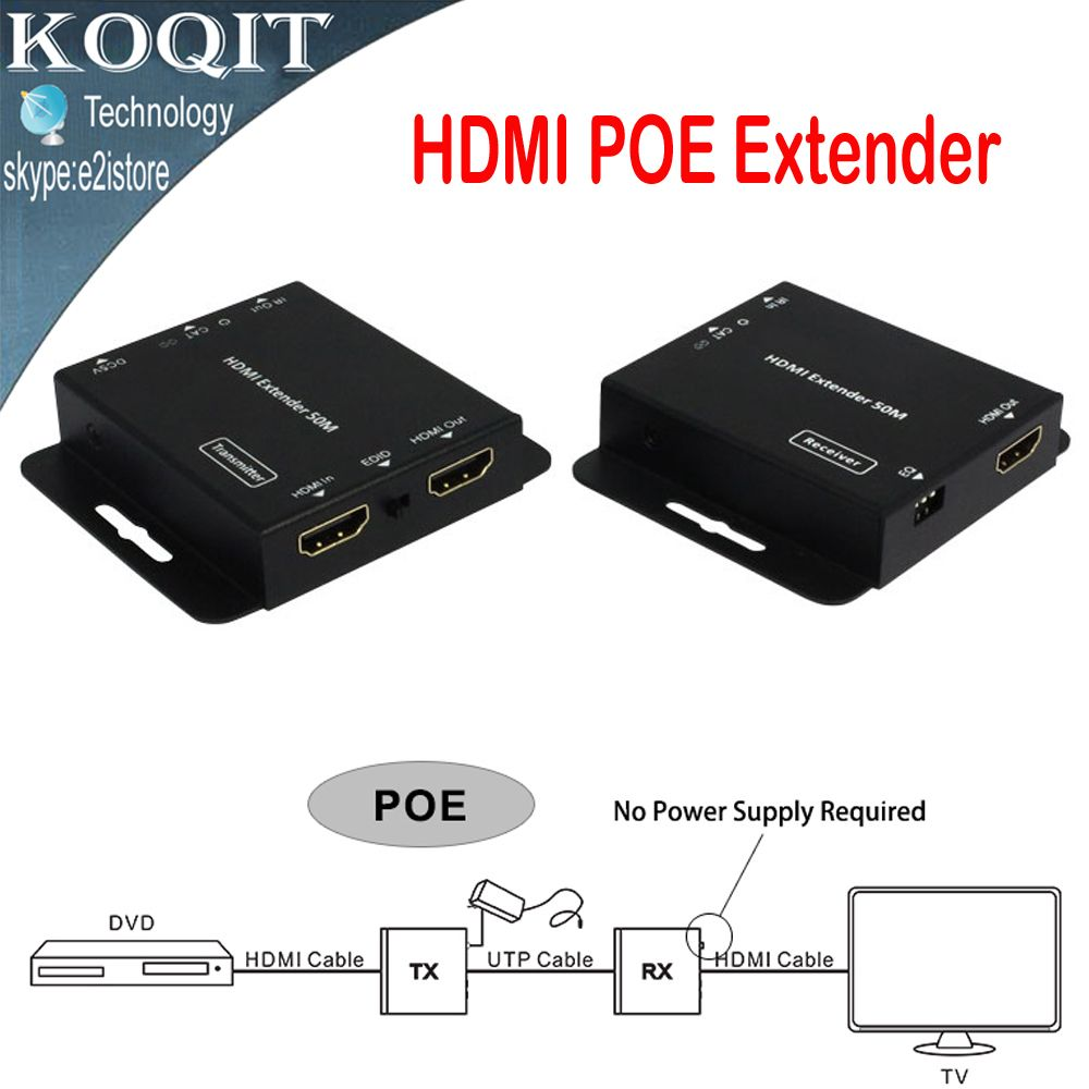 HDV-E50C Ultra Slim 1080p 50m/164ft HDMI Extender Over Single Cat5e/6 UTP Cable With IR Repeater Transmitter + Receiver