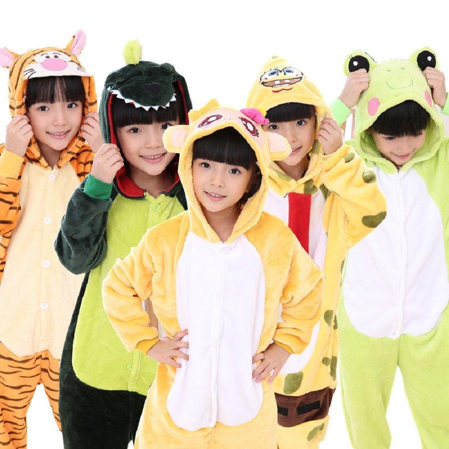 Cosplay Cartoon winter Kigurumis Pajamas Children Onesies Pajama Suit Stitch Giraffe Kids Animal Hooded for girl boy Sleepwear