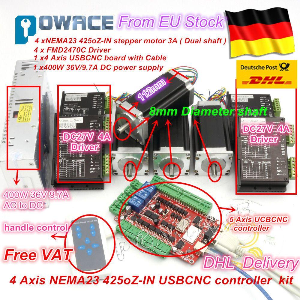 4 Achsen CNC Controller kit Nema 23 Schrittmotor (Dual Welle) unzen-in/112mm/3A & Motor Fahrer 40 V 4A & stromversorgung set