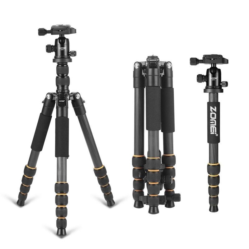 ZOMEI Q666c Carbon Fiber Professional Lightweight Compact Travel Portable Tripod monopod&BallHead for DSLR SLR Digital Camera DV