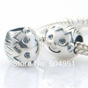 1 pcs/lot Mode 925 Sterling Argent Petit Garçon Charme Perles Convient Européenne Pandora Style Bracelets Bijoux