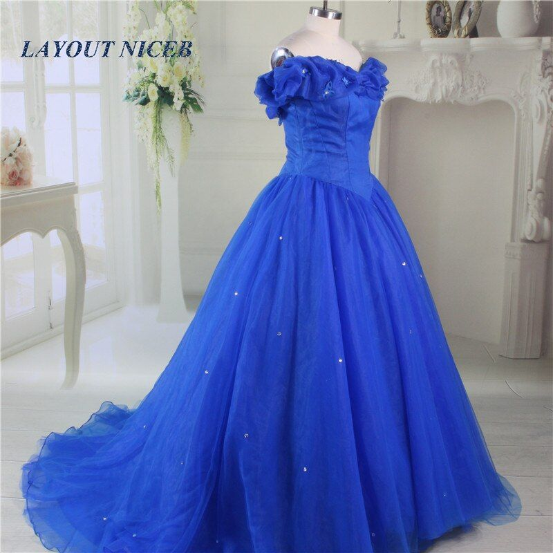 2017 Quinceanera Gowns Royal Blue Princess Ball Gown Prom Dresses Cinderella Dress Butterfly Rhinestone Sparkling Skirt
