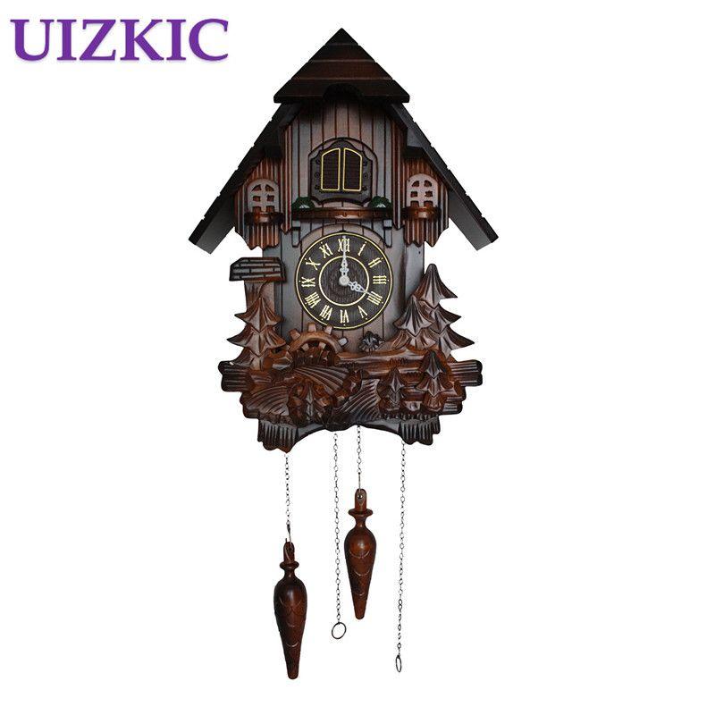 European cuckoo clocks light-controlled time real wood manual sculpture, creative living room clock