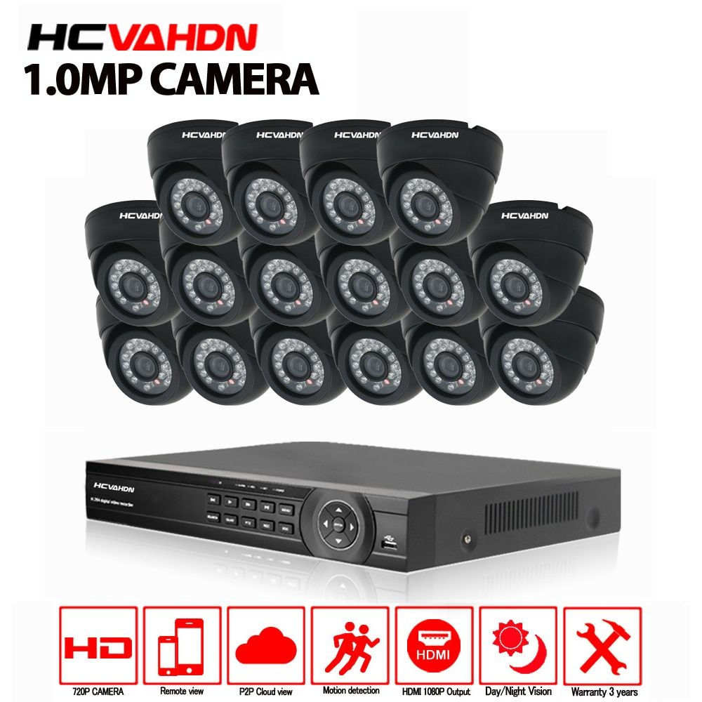 16ch CCTV System 720P AHD Camera 16PCs Security Camera System AHD DVR 1080P HDMI CCTV DVR Recorder 1.0MP CCTV Camera system kit