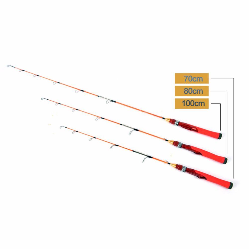 70/80/100 cm Tragbare Alle Metall Locken Stange Teleskop Angelrute Winter Angelgerät Werkzeug Fich Zubehör Heißer verkauf