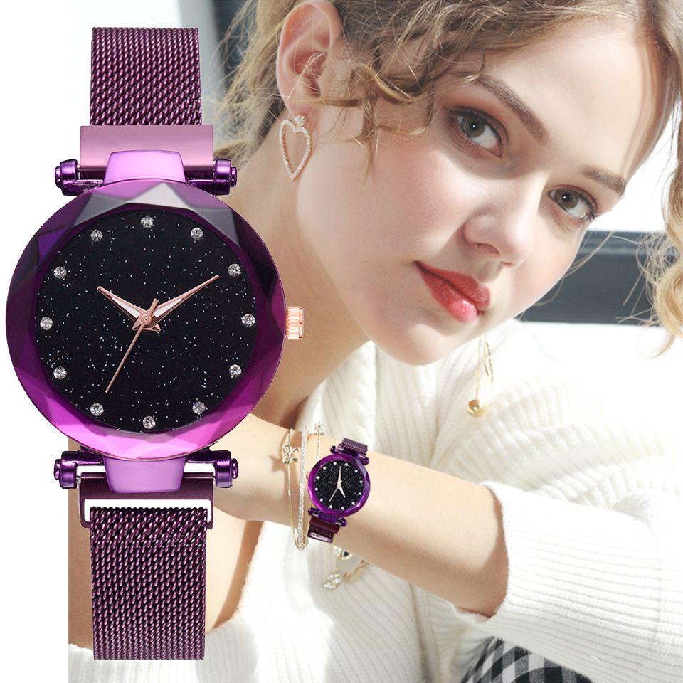 2018 De Luxe Femmes Montres Rose D'or Dames Horloge Magnétique Ciel Étoilé Diamant Robe Femelle Montres À Quartz relogio feminino