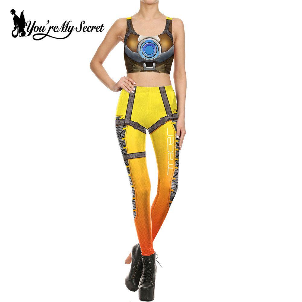 [Vous êtes Mon Secret] Mode Amérique Deadpool Leggins Femme Film Cosplay Mince Star Wars 2 pièce de Femmes crop Top et Legging Ensemble