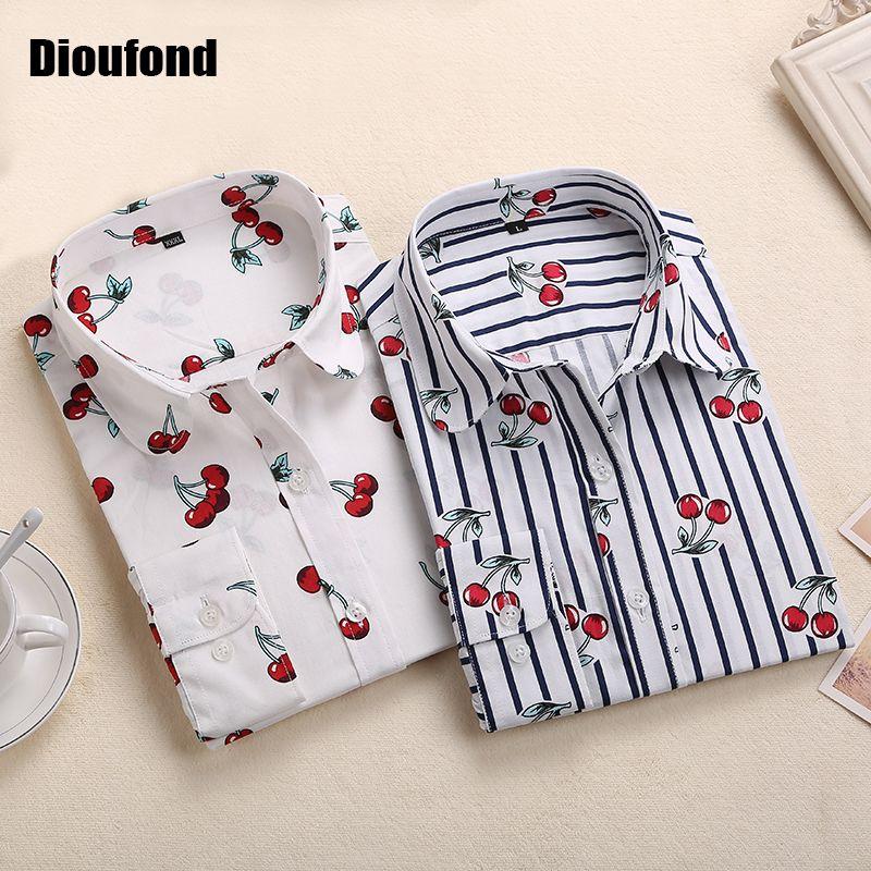 Dioufond nouveau Floral à manches longues Vintage Blouse cerise col rabattu chemise Blusas Feminino dames Blouses femmes hauts mode