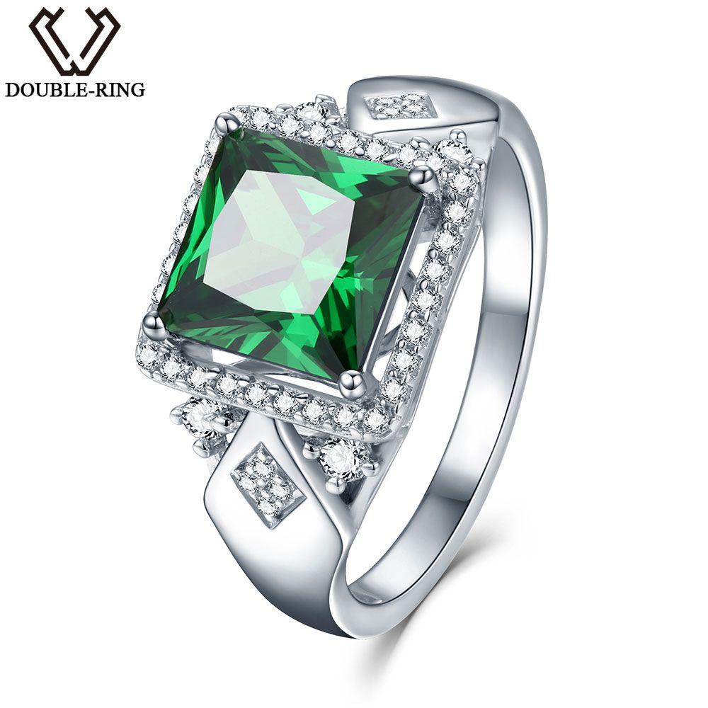 3.72ct Square Créé Vert Émeraude 925 Sterling Argent Anneaux pour les Femmes De Fiançailles De Mariage Anniversaire