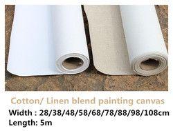 5 m long artiste de lin apprêtée mélange/100% coton blanc amorcée peinture rouleau de toile vierge pour artiste