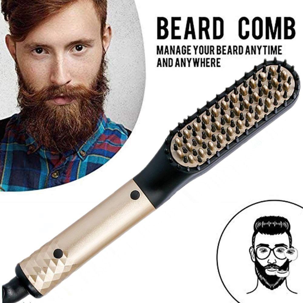 Professionnel barbe cheveux lisseur peigne de coiffure lissage brosse multifonctionnel cheveux bigoudi homme électrique cheveux outil