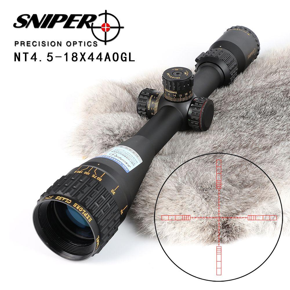 SNIPER NT 4,5-18X44 AOGL Jagd Zielfernrohre Taktische Optical Sight In Voller Größe Glas Geätzt Absehen RGB Beleuchtet Zielfernrohr