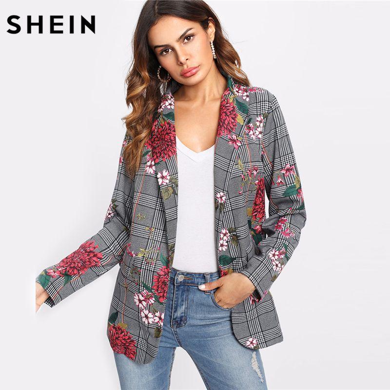 SHEIN Plaid Blazer Women Long Sleeve Womens Colored Fashion Blazer Multicolor Shawl Collar Pocket Casual Floral Blazer