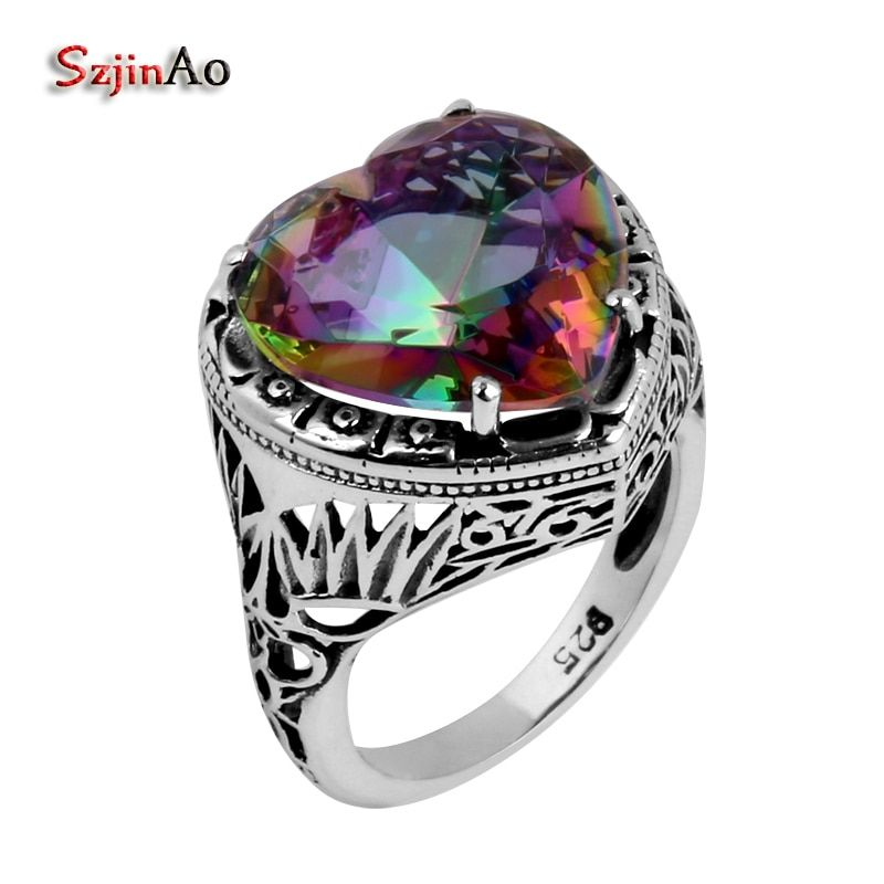 Szjinao wholesale anillos Vintage Jewelry 925 Sterling Silver Rings Charm Rainbow Topaz Heart-shaped <font><b>Stones</b></font> For Women Gifts