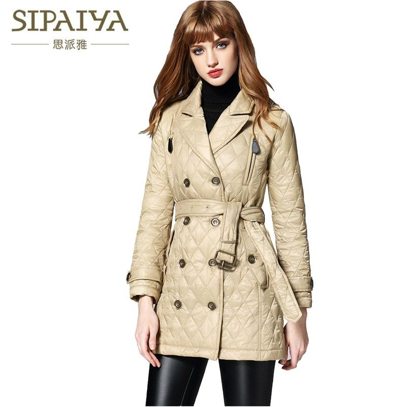 SIPAIYA 2017 New Arrival Casual Warm Long Sleeve Ladies Cotton Coat Famous B Brand Women Parkas Cotton Women Winter Jacket