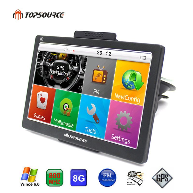 TOPSOURCE TS708 7 inch Car GPS Navigation 800MHZ FM/8GB/256M 2016 Maps for Navitel Russia/Spain/Kazakhstan Europe/USA TRUCK GPS
