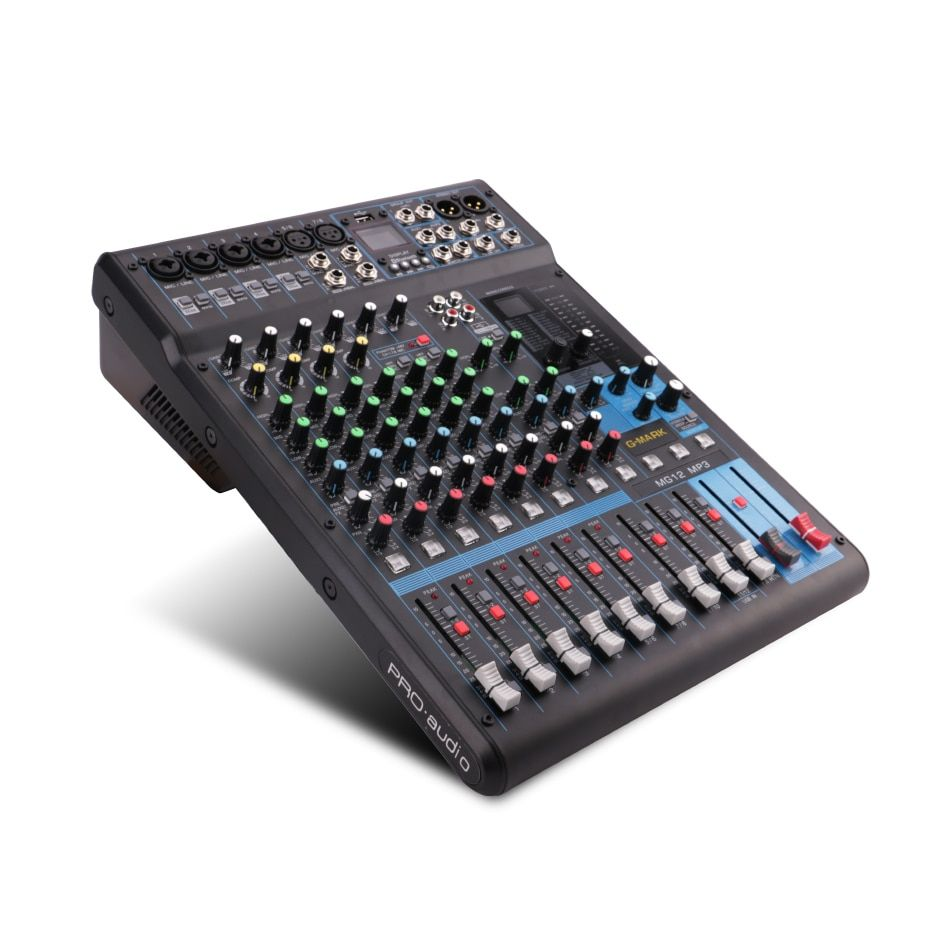 G-MARK Professional Audio Mixer console Bluetooth Record 26 Language operating system 4 Mono 4 stereo 12 Channels 3 Band EQ