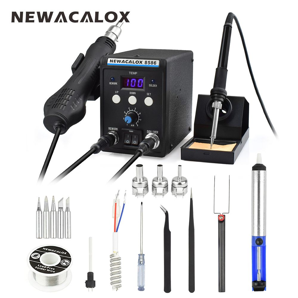 NEWACALOX 8586 EU 220V 700W Hot Air Gun Lead-Free Soldering Station BGA Rework SMD Heat Electric Soldering Iron Kit Welding Tip
