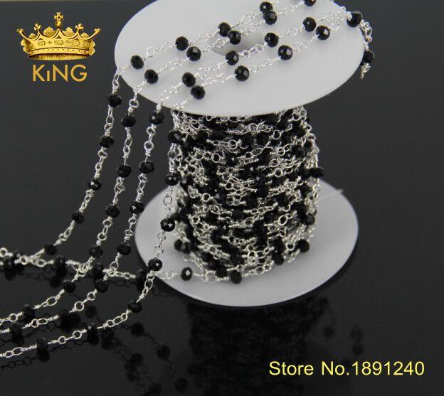 5 mètre/lot en gros! fil enroulé perles chaînes argent plaqué chapelet chaîne cristal noir à facettes perles fabrication de bijoux JD012