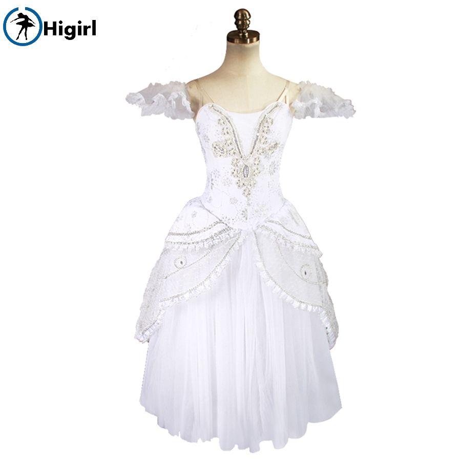Snow White Queen Adult Professional Ballet Long Tutu Romantic Ballet Tutu Dress Ballerina Stage Costumes BT8902