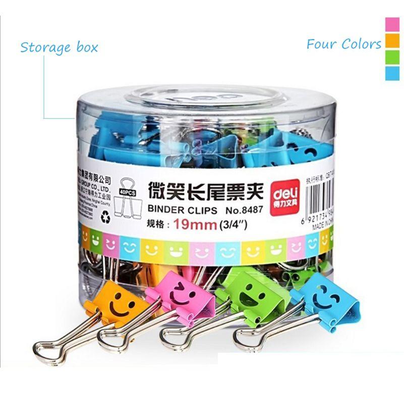 80Pcs/set 19mm Metal Clip Colorful Smile Face Metal Binder Paper Clip Designs Office Stationery