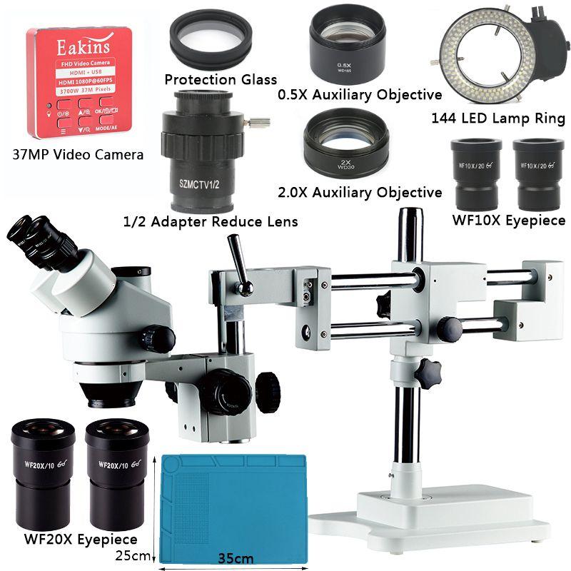 3.5X-90X Simul Brenn Trinocular Stereo Mikroskop Doppel Boom Stand + 37MP 1080P HDMI USB Video Kamera Für industrielle PCB Reparatur