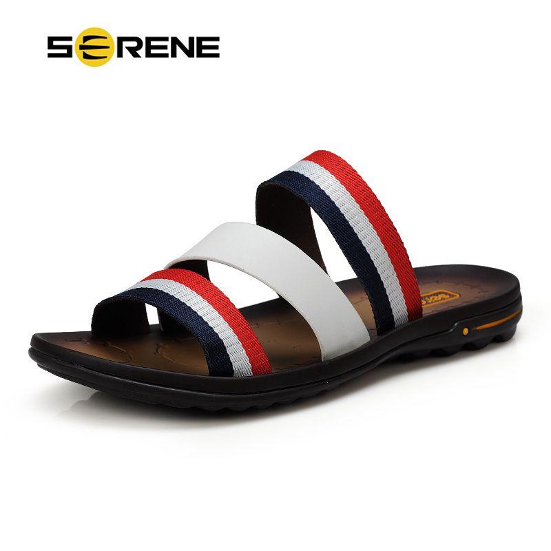 SERENE 2018 Men Shoes Male Sandals Slippers Flip Flops Rubber Size 38~44 Summer Beach Shoe Babouche Chinela Baboosh fenty Slides