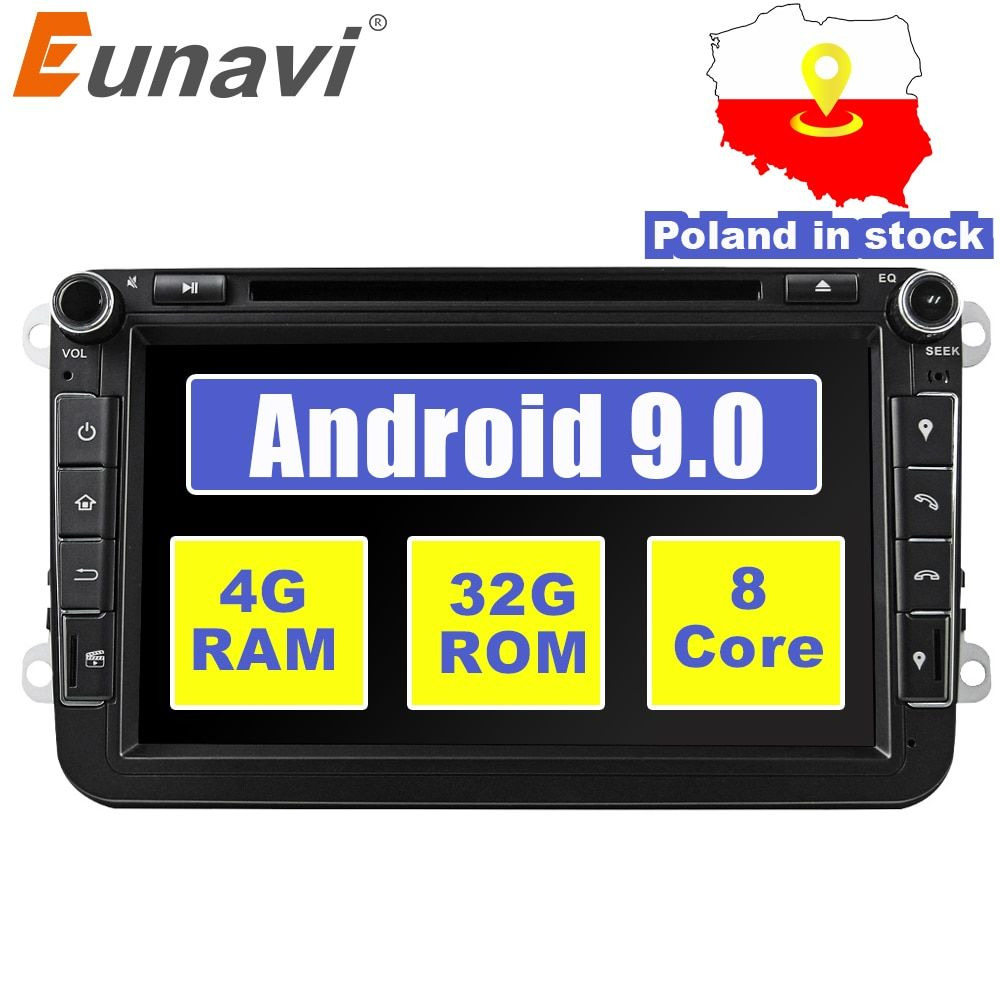 Eunavi 2 din 8 ''Octa core Android 9.0 Auto DVD Player GPS für VW Passat CC Polo GOLF 5 6 touran EOS T5 Sharan Jetta Tiguan Radio