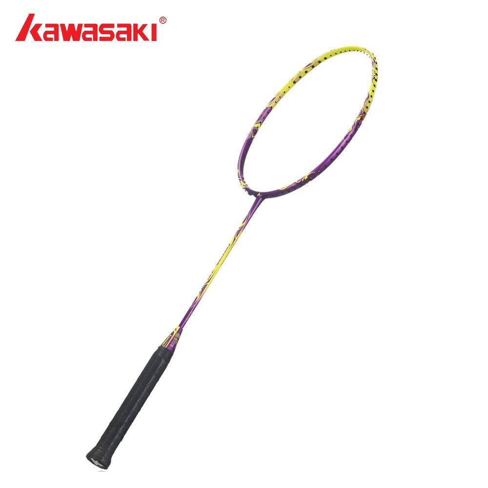 Kawasaki Brand Original Badminton Racket 4U Ball Control Type Graphite Carbon Yellow Badminton Racquet for Beginners Firefox 370