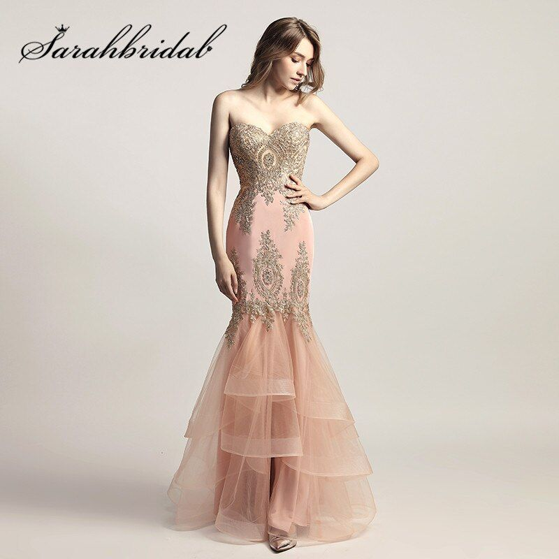 Blush Pink Evening Dresses with Sweetheart Long Mermaid 2017 Embroidery Beaded Tulle Ruffles New Arrival Prom Party Gowns LX462