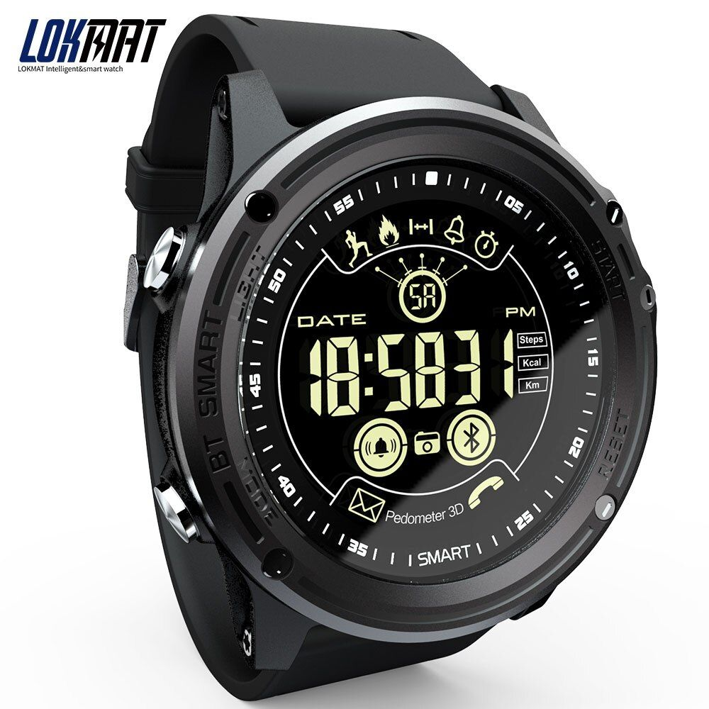 LOKMAT Smart Watch Sport Pedometer Waterproof <font><b>IP68</b></font> Bluetooth Men Digital Clock Call Reminder SmartWatch For ios Android Phone