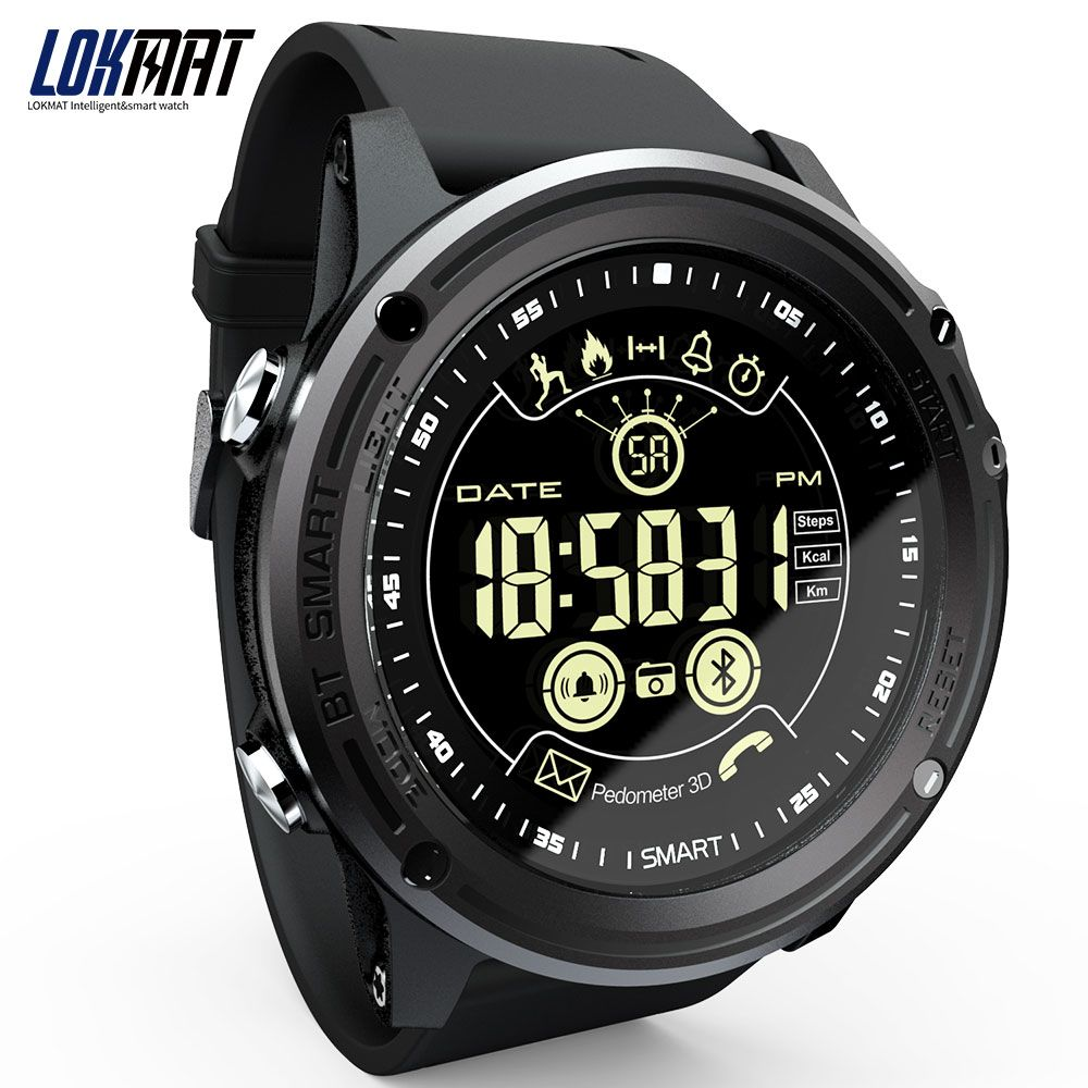 LOKMAT Smart Watch Sport Pedometer Waterproof IP68 Bluetooth Men Digital Clock Call Reminder SmartWatch For ios Android Phone