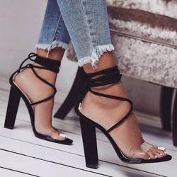 Femme chaussures chaussure femme croix-attaché dentelle up Zapatos Mujer dames d'été sandales femmes chunky talons hauts pompes clair F180008