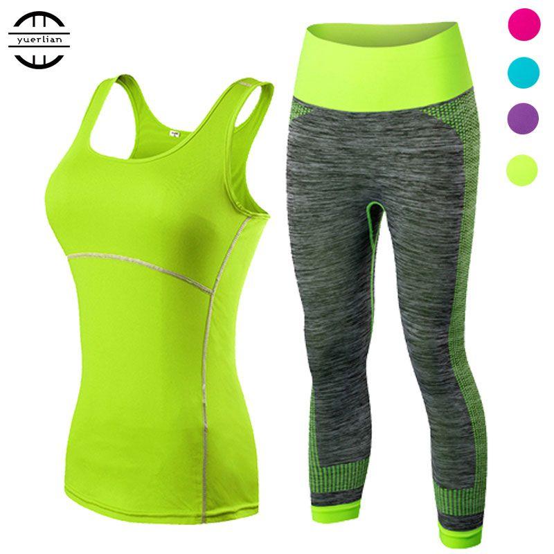 Yuerlian Dames Sport Courir Recadrée Top 3/4 Leggings yoga Gym Trainning Set Vêtements d'entraînement fitness femmes yoga costume