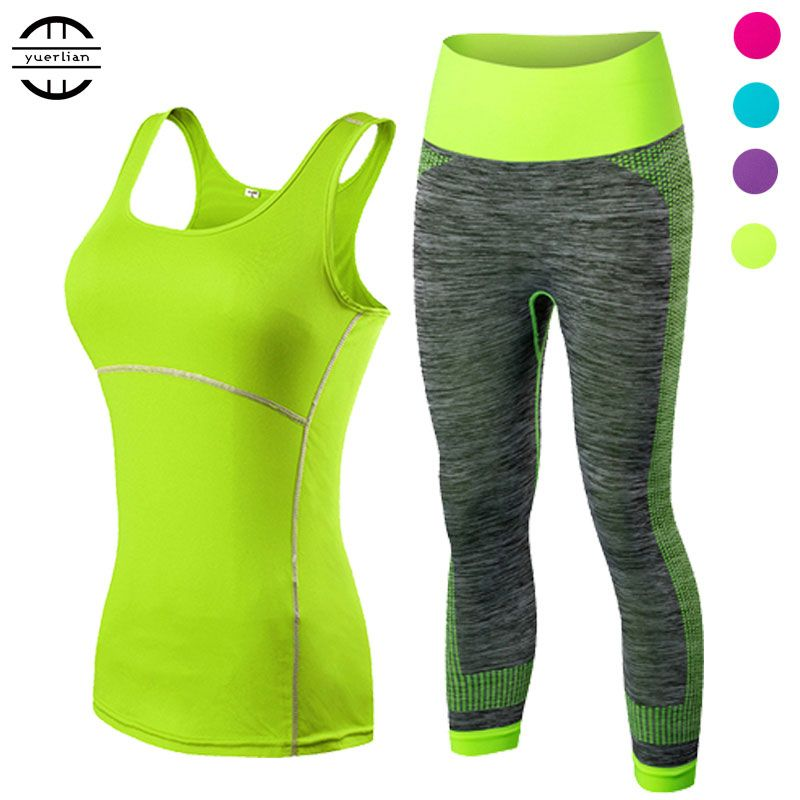 yuerlian Ladies Sports <font><b>Running</b></font> Cropped Top 3/4 Leggings Yoga Gym Trainning Set Clothing workout fitness women yoga suit