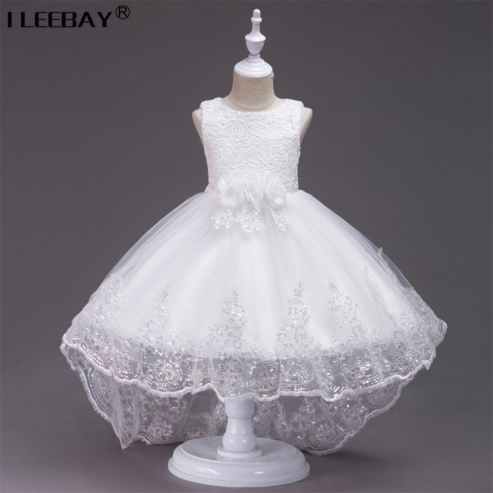 Prinzessin Blumenmädchen Kleid Für Hochzeit High Quality Brautjungfer Kinder Bogen Sleeveless Hinter Spitze Tüll Weiß Tutu Kleid