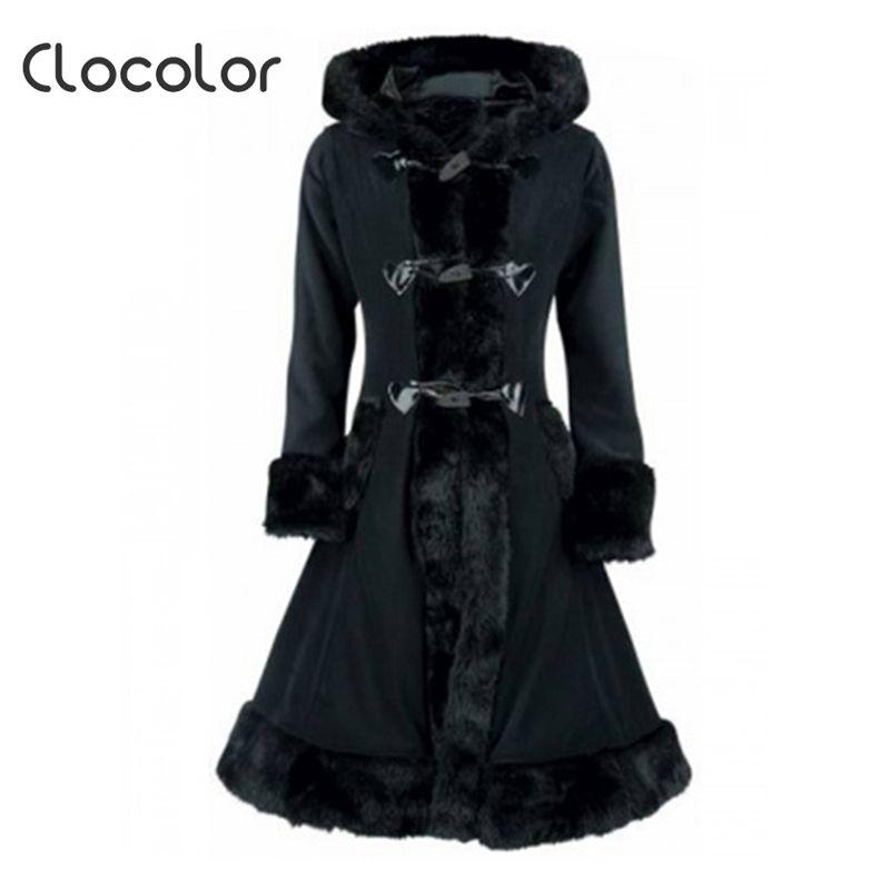 Clocolor Women Black Hooded Winter Wool Coat Full Sleeve Autumn Winter Warm Female Long Cloaks Outwear Back Lace Up Wool Coat