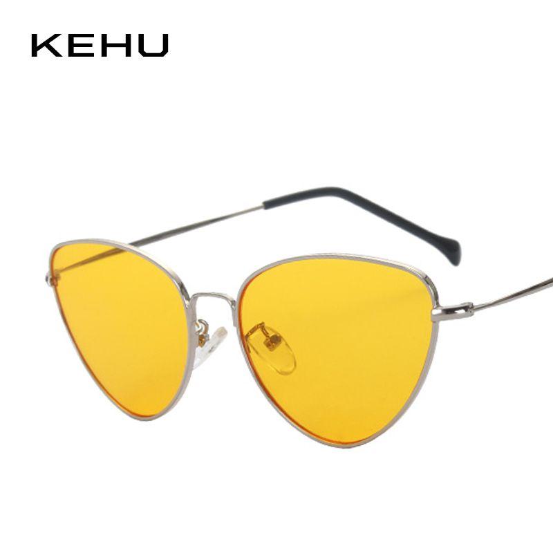 KEHU Date Femmes Rétro Cat Eye Revêtement Miroir Steampunk Lunettes Objectif Clair K9102