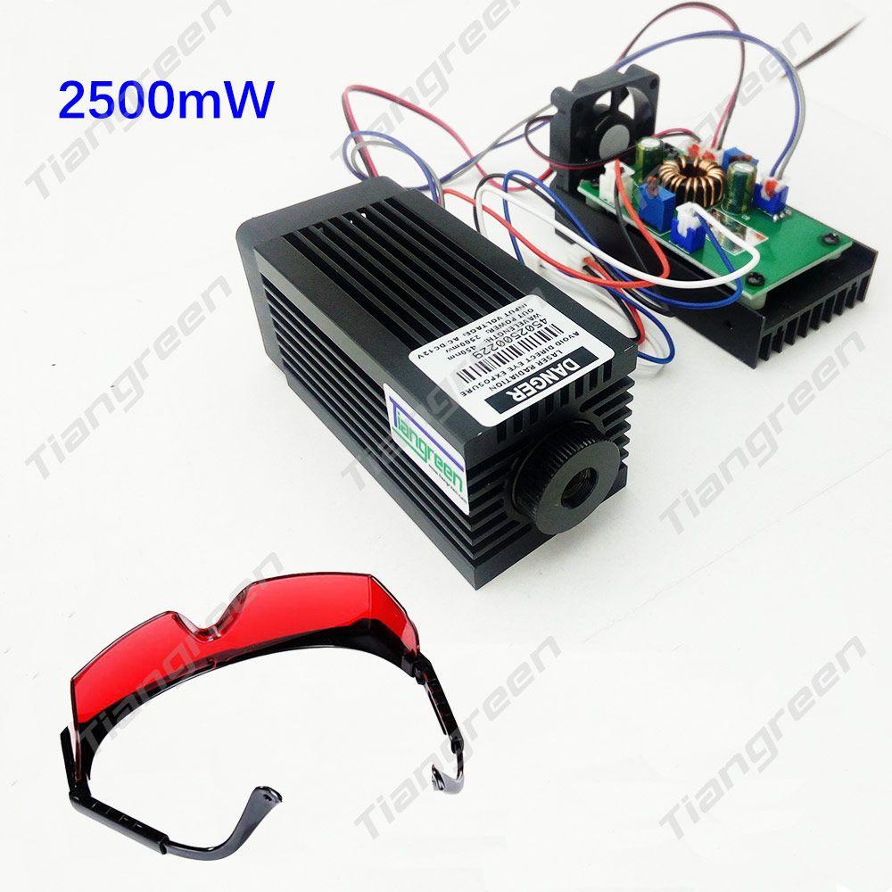 El poder más elevado 2.5 W Azul Luz Módulo de Diodo de Láser Máquina de Grabado DEL CNC fuente de Alimentación 2500 mw 445nm 450nm Foco Tubo láser