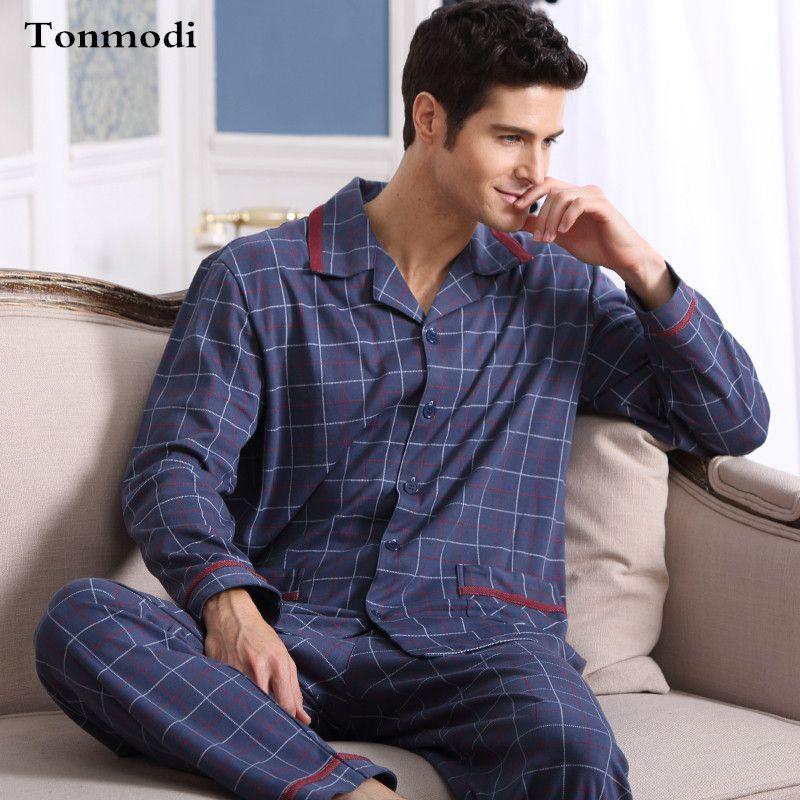 Hommes Pyjamas Printemps Automne À Manches Longues de Nuit En Coton À Carreaux Cardigan Pyjamas Hommes Salon Ensembles de Pyjama Plus La taille 4XL Sommeil