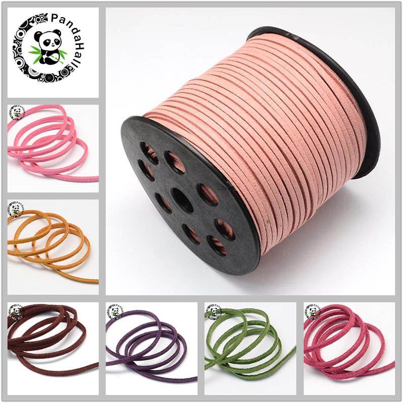 Plat Faux Suede Cordon 3mm Bracelets Collier bricolage Accessoires pour La Fabrication de Bijoux Sur 90 m/rouleau