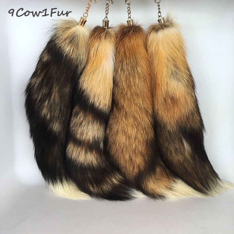 fur tail keychain Super Large 40cm Big handbag accessories Sun Fox Real Fur Keychain Women Bags tassel Car key Ring jeweler CF24