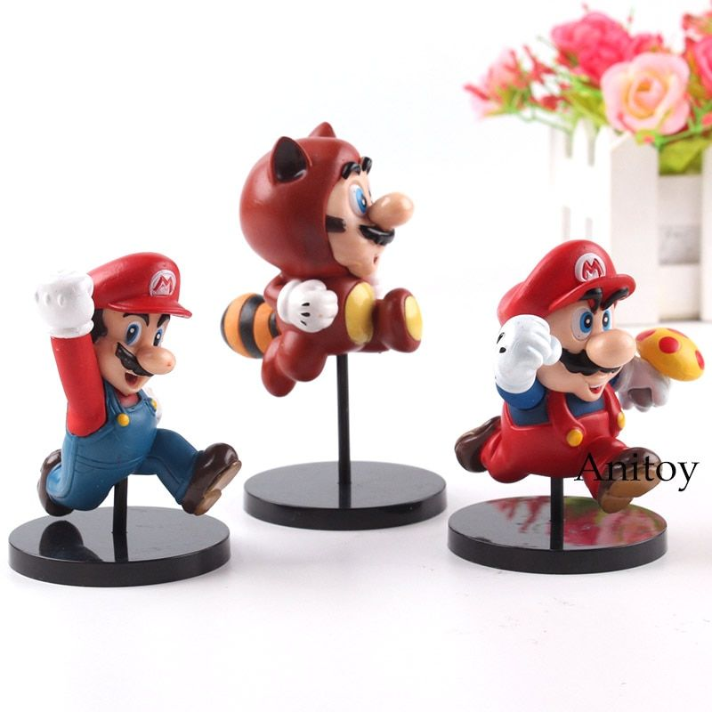 New Super Mario Bros Wii Mario Figure Toy PVC MEDICOM TOY Ultra Detail Figure Action Collection Model Toys for Boys 3pcs/set